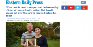 EDP: 'What people need is support and understanding' - Sister of mental health patient Neil Jewell speaks out over the care he received before his death
