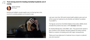Fixed, Flawed Farce: Part 4: BBC News: Trust among worst for treating mentailly ill patients out of county