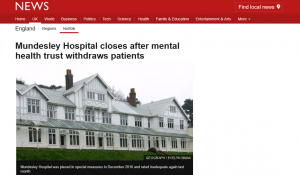 BBC News: Mundesley Hospital closes after mental health trust withdraws patients