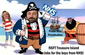 Campaign Cartoon: NSFT Treasure Island: Jobs for the Boys from NHSI