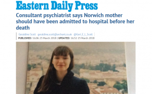 EDP: Consultant psychiatrist says Norwich mother should have been admitted to hospital before her death