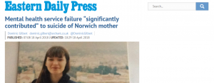 "EDP: Mental health service failure ""significantly contributed"" to suicide of Norwich mother"