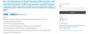 Our correspondence to Health Secretary, Matt Hancock, and the Chief Executives of NHS Improvement and NHS England regarding their toleration of the mental health Mid Staffs at NSFT
