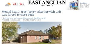 EADT: Mental health trust 'sorry' after Ipswich unit was forced to close beds