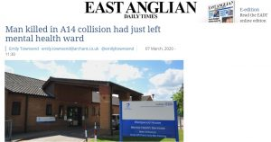 EADT: Man killed in A14 collision had just left mental health ward at NSFT