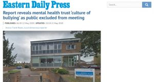 Report reveals mental health trust 'culture of bullying' as public excluded from meeting