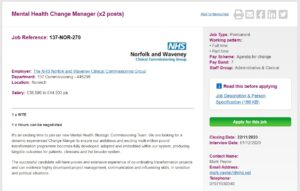 NOTW: Mental Health Change Managers Band 7 x 2