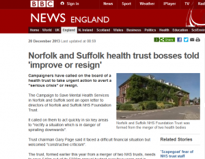 BBC News: Norfolk and Suffolk health trust bosses told 'improve or resign'