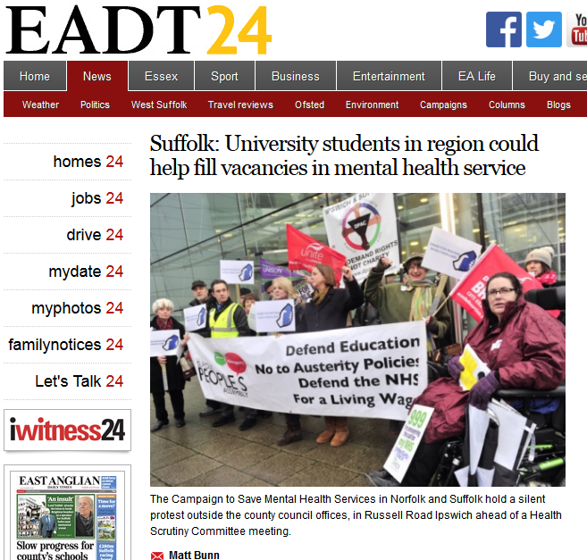 EADT Suffolk University students in region could help fill vacancies in mental health service