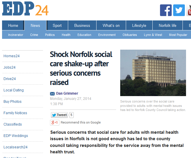 EDP Shock Norfolk social care shake-up after serious concerns raised
