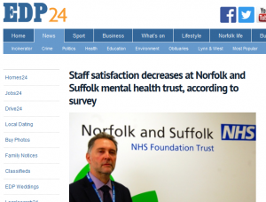 EDP: Staff satisfaction decreases at Norfolk and Suffolk mental health trust, according to survey