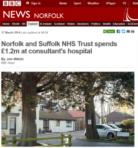 BBC: Norfolk and Suffolk NHS Trust spends £1.2m at consultant's hospital