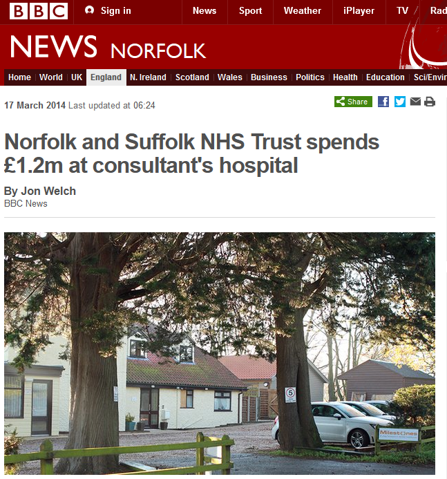 BBC Norfolk and Suffolk NHS Trust spends £1.2m at consultants hospital