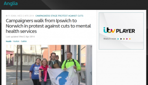 Anglia News: Campaigners walk from Ipswich to Norwich in protest against cuts to mental health services