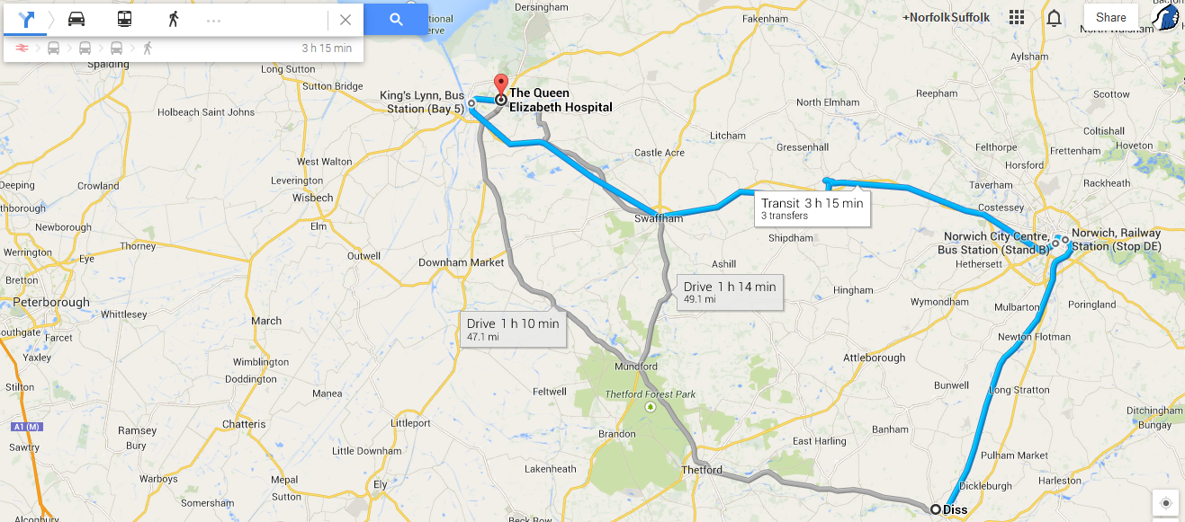 Diss to Queen Elizabeth Hospital 3 hours by public transport