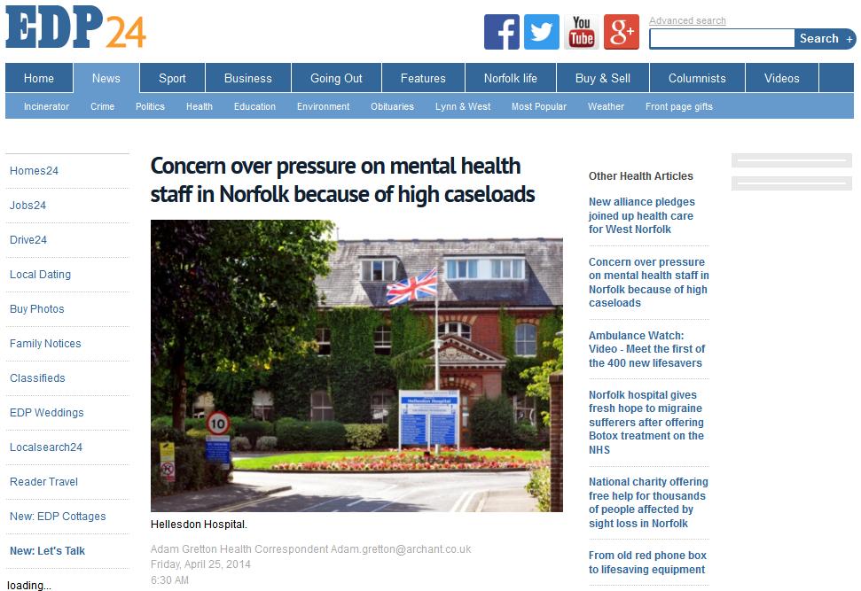 EDP Concern over pressure on mental health staff in Norfolk because of high caseloads