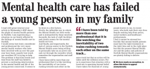 EDP Letters: Mental health care has failed a young person in my family