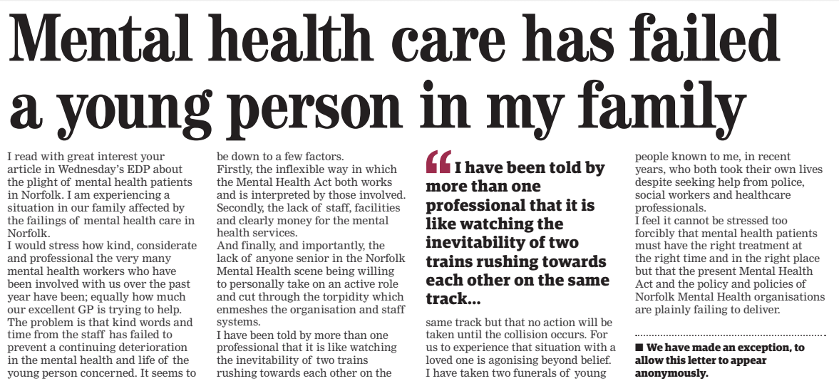 EDP Letters Mental health care has failed a young person in my family