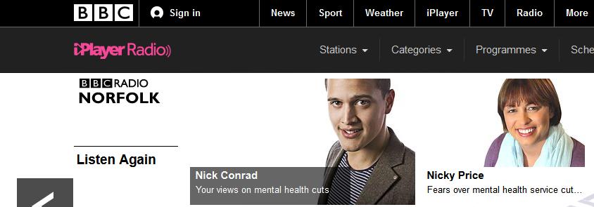 Mental health cuts lead BBC Radio Norfolk news coverage