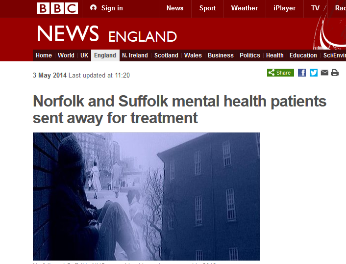 BBC Norfolk and Suffolk mental health patients sent away for treatment