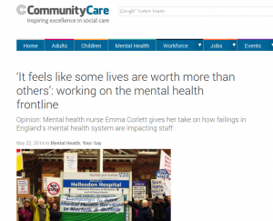 Community Care: 'It feels like some lives are worth more than others': working on the mental health frontline