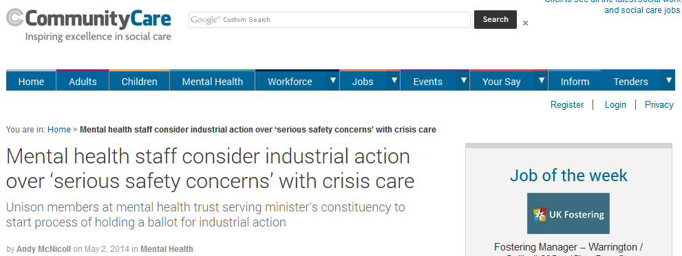Community Care Mental health staff consider industrial action over 'serious safety concerns' with crisis care