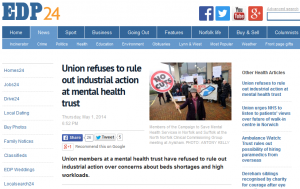 EDP: Union refuses to rule out industrial action at mental health trust