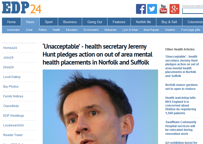 EDP 'Unacceptable' - health secretary Jeremy Hunt pledges action on out of area mental health placements in Norfolk and Suffolk