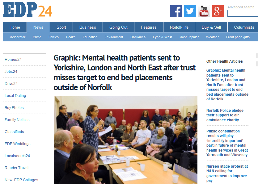EDP Graphic Mental health patients sent to Yorkshire, London and North East after trust misses target to end bed placements outside of Norfolk