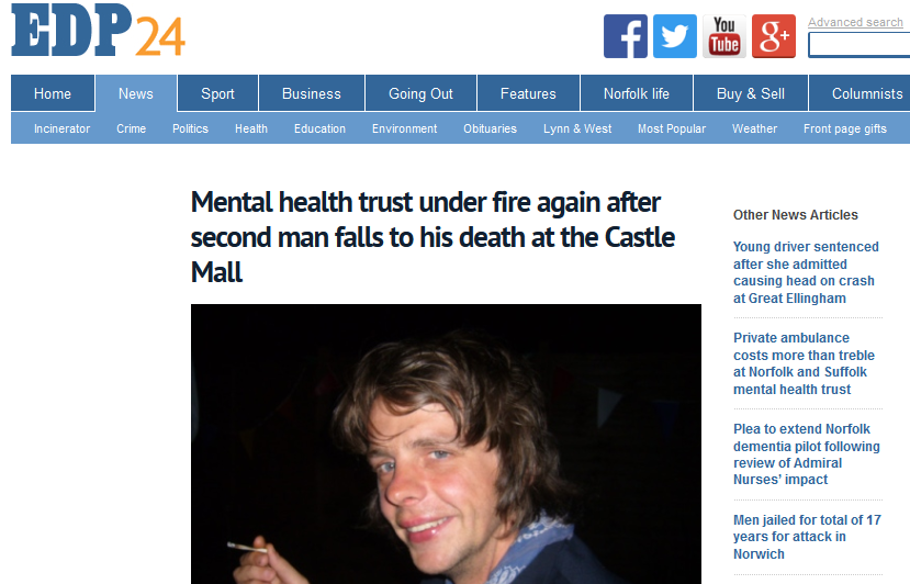 EDP Mental health trust under fire again after second man falls to his death at the Castle Mall
