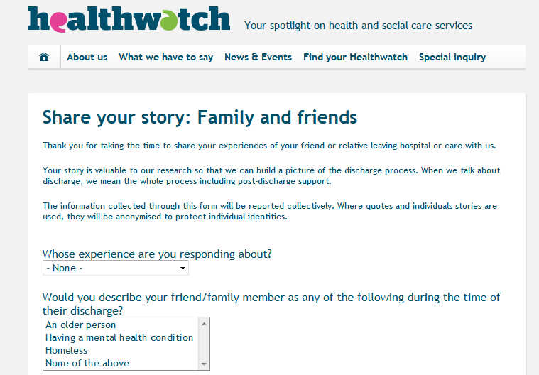 Healthwatch Share your story Family and friends