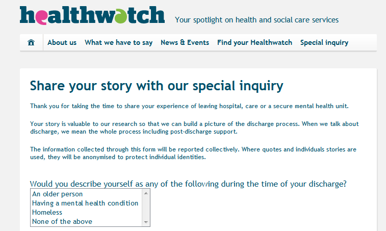 Healthwatch Share your story with our special inquiry