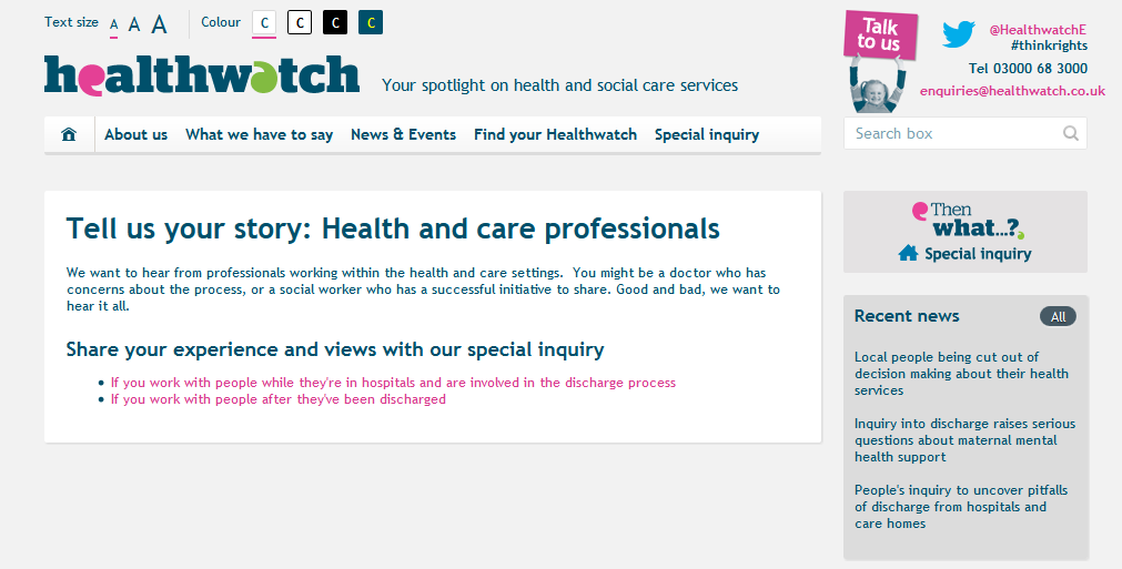Healthwatch - Tell us your story Health and care professionals