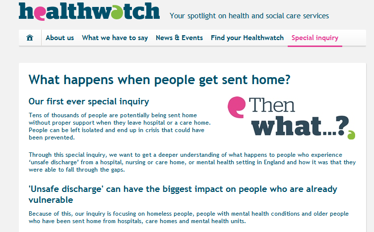Healthwatch What happens when people get sent home