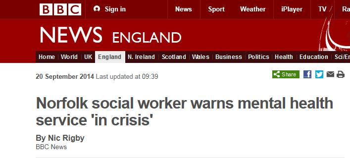BBC Norfolk social worker warns mental health service 'in crisis'