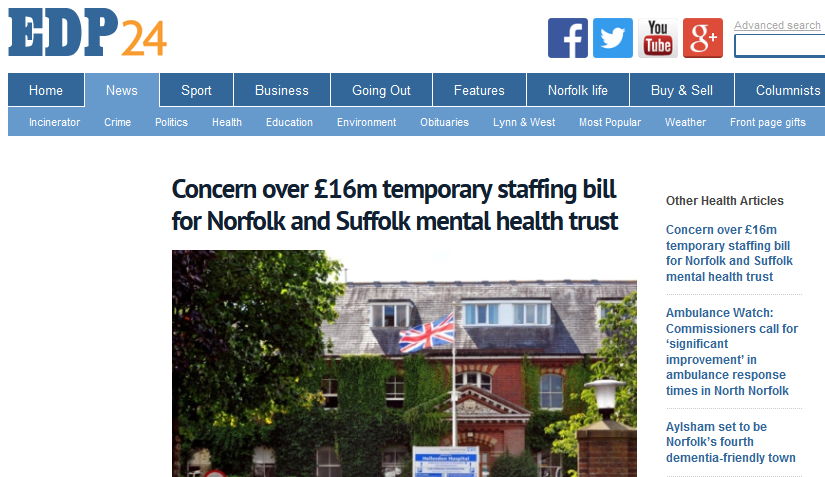EDP Concern over £16m temporary staffing bill for Norfolk and Suffolk mental health trust