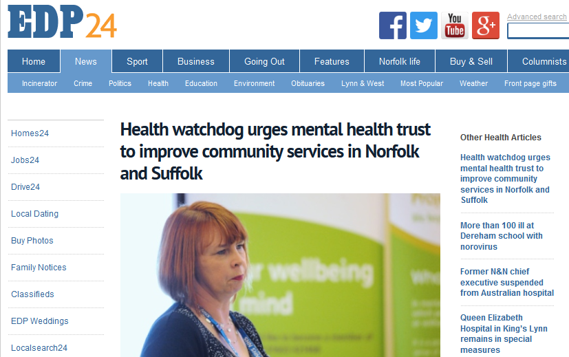 EDP Health watchdog urges mental health trust to improve community services in Norfolk and Suffolk