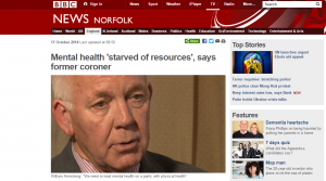 BBC News: Mental health 'starved of resources', says former coroner