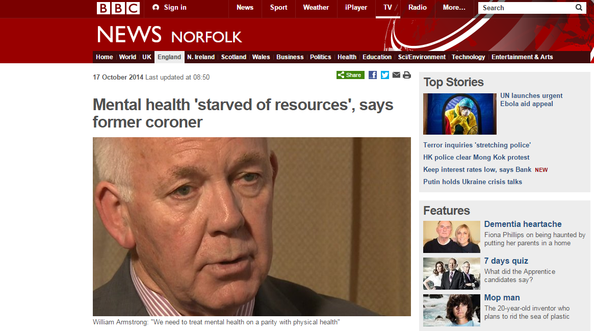 BBC News - Mental health 'starved of resources', says former coroner