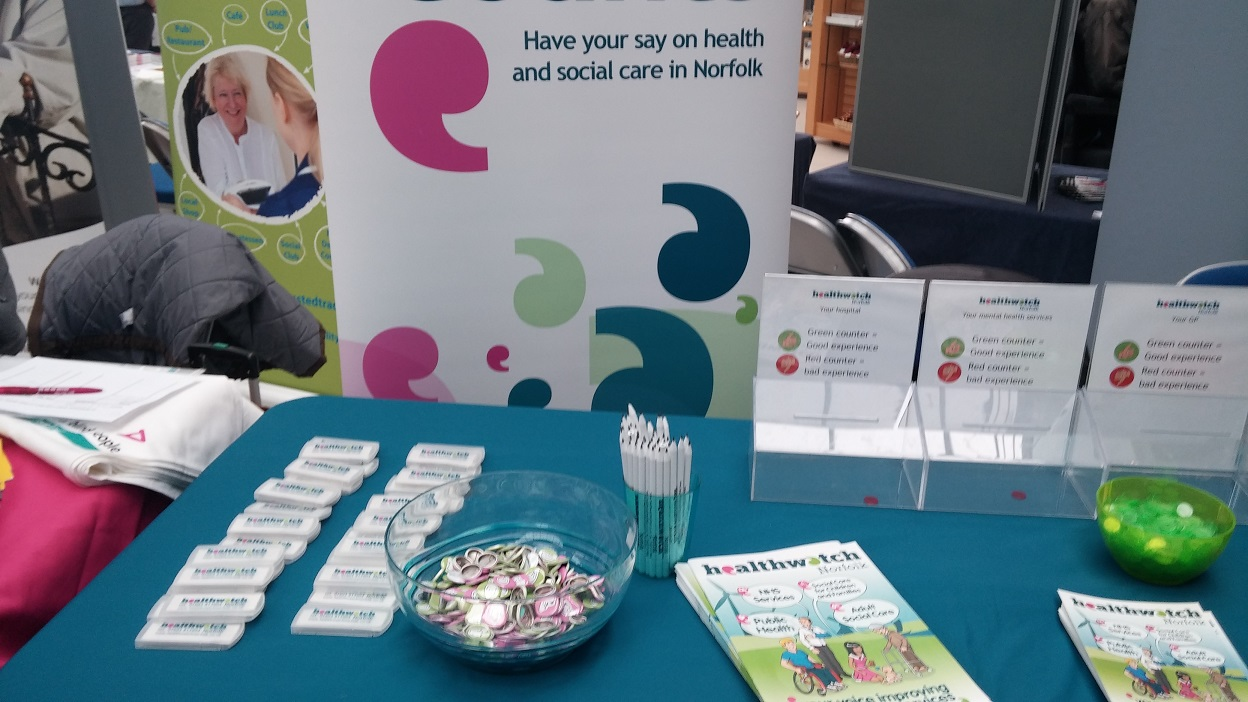 Healthwatch Norfolk Rubbers, badges, pencils and expensive literature