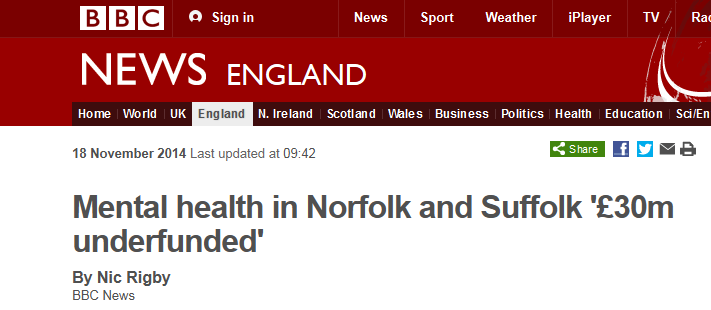 BBC News Mental health in Norfolk and Suffolk £30m underfunded