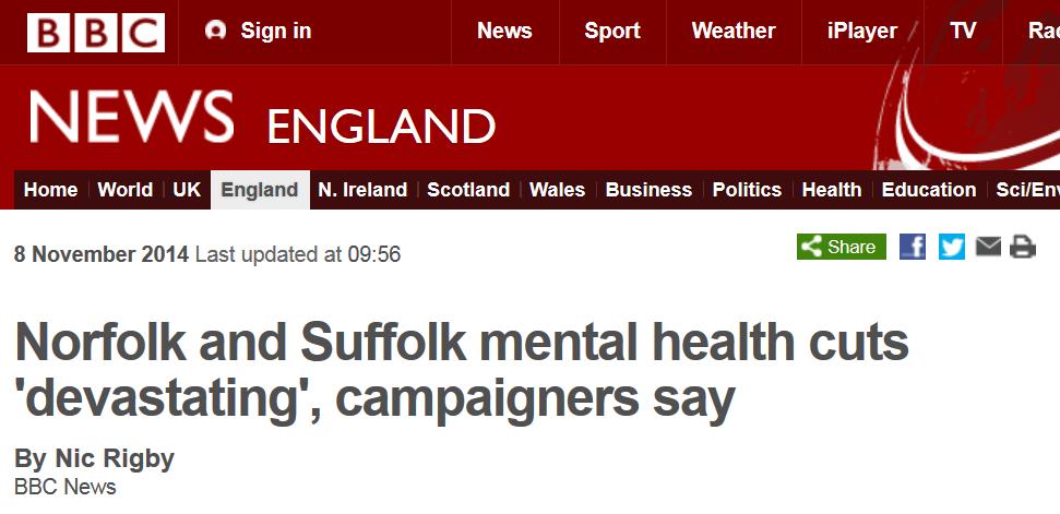 BBC News Norfolk and Suffolk mental health cuts 'devastating' campaigners say