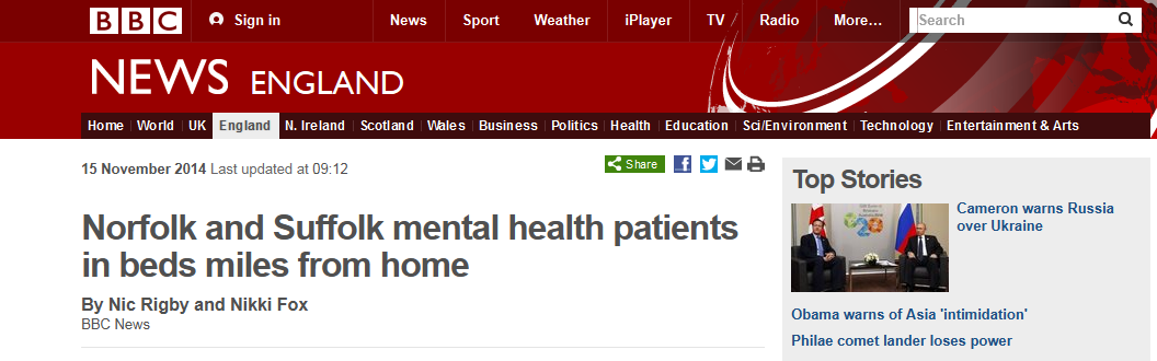 BBC News Norfolk and Suffolk mental health patients in beds miles from home
