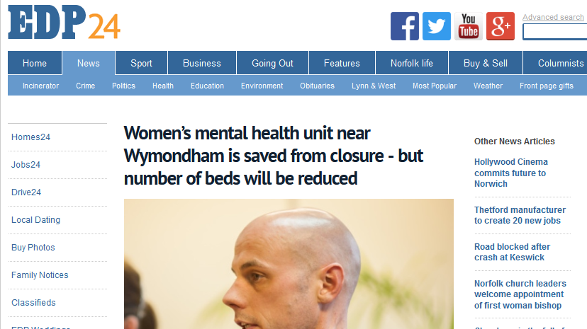 EDP Women's mental health unit near Wymondham is saved from closure - but number of beds will be reduced