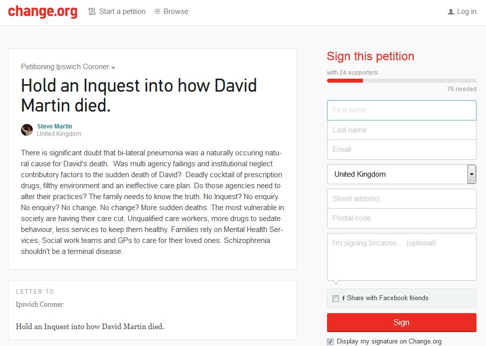 Petition asking Ipswich Coroner to hold an inquest into the death of David Martin