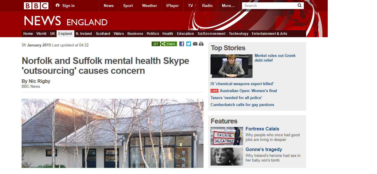 BBC News Norfolk and Suffolk mental health Skype 'outsourcing' causes concern
