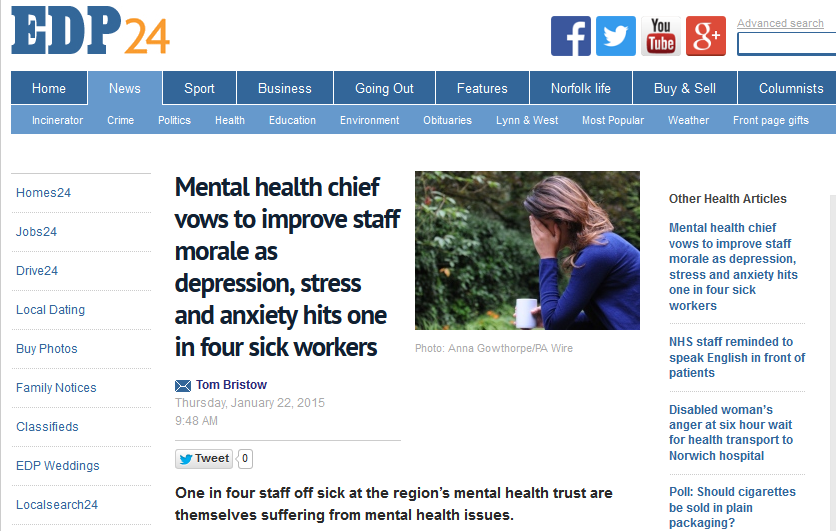 EDP Mental health chief vows to improve staff morale as depression, stress and anxiety hits one in four sick workers