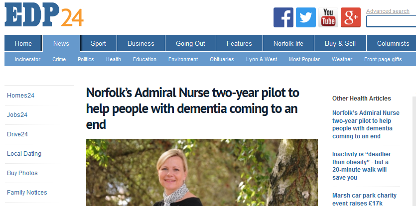 EDP Norfolks Admiral Nurse two-year pilot to help people with dementia coming to an end