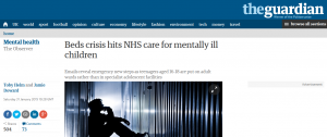 Observer: Beds crisis hits NHS care for mentally ill children