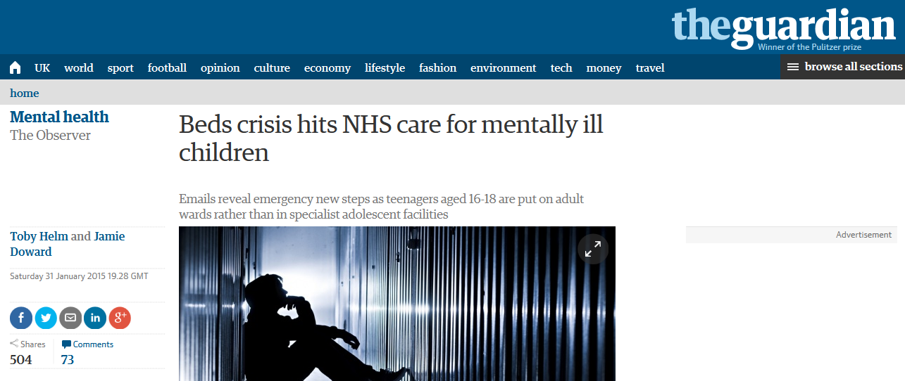 Observer Beds crisis hits NHS care for mentally ill children